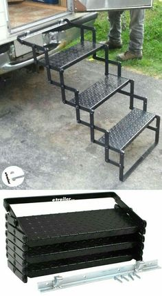 These Truck Bed Camper steps are sturdy, and well constructed. The mounting hardware/bracket are easy to install and make it easy to add/remove the steps from my slide-in camper with ease. The steps lock shut when folded up, making them easy to transport. Metal Projects, Welding Projects, Camper Steps, Truck Bed Camper, Rv Truck, Slide In Camper, Welding Table, Welding Art, Metal Welding