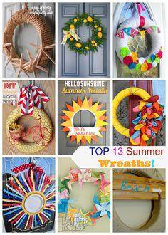 DIY Top 13 Summer Wreaths #summerwreaths #wreaths #DIY
