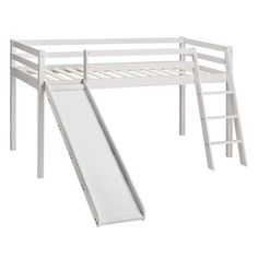 Bilbarin Single Standard Bed Just Kids Colour: Brilliant White Toddler Bed With Slide, Bunk Bed With Slide, Toddler Bunk Beds, Toddler Bed Frame, Childrens Bunk Beds, Kid Beds, Childrens Bedroom, Mid Sleeper Cabin Bed, Cabin Bunk Beds