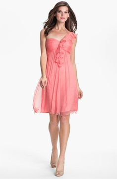 Love this!!!  But why does Amsale have to be so dang expensive!?  Somebody find a used one!  Amsale One Shoulder Ruffle Silk Chiffon Dress available at #Nordstrom