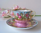 Vintage Teacup and Saucer Courting Couple