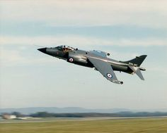 Sea Harrier Royal Navy, John Farley on a test flight performs a fast low pass at Dunsfold, October 23rd 1978.