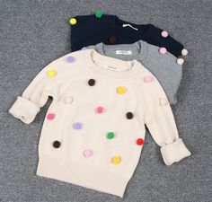Heavy sweater made of cotton wool, soft tender and warm feel, a good choice in winter season. Kids cotton sweaters, unique technology makes it soft, breathable and quite comfortable wearing Pom Pom Sweater, Cotton Sweater, Sweater Making, Girls Sweaters, Winter Season, Toddler Girl, Wool, Pom Poms, Knitting