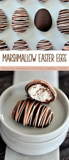 Homemade Chocolate Marshmallow Eggs These homemade marshmallow Easter eggs (chocolate-covered, no less) may just be one of the coolest things I've ever made. Your kids. Desserts Ostern, Köstliche Desserts, Delicious Desserts, Dessert Recipes, Easter Desserts, Homemade Marshmallows, Chocolate Marshmallows, Homemade Candies, Homemade Sweets