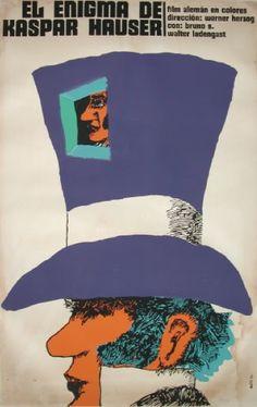 Cuban poster by Eduardo Muñoz Bachs, 1974, The Enigma of Kaspar Hauser.
