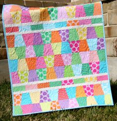 Bright Tumbler Quilt Baby Girl Blanket Happy by SunnysideDesigns2, $159.00
