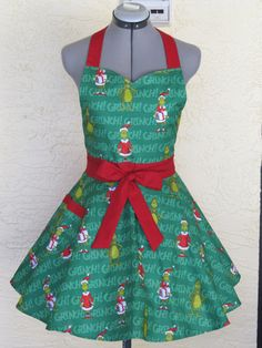 Christmas Grinch on Green Apron by AquamarCouture on Etsy
