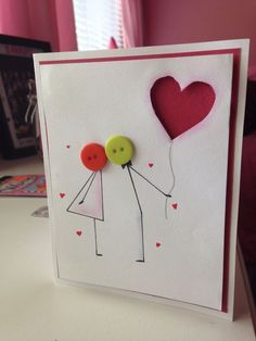 Cute anniversary or valentines day card :) - Happy cards - Valentine Day Cards, Valentine Crafts, Homemade Valentines Day Cards, Valentines Sweets, Anniversary Cards For Him, Handmade Anniversary Cards, Anniversary Funny, Anniversary Quotes, Button Cards
