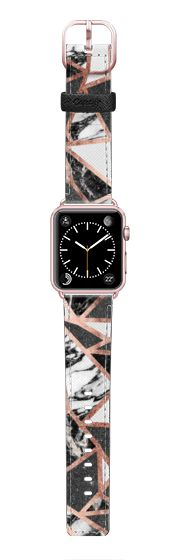 Casetify Apple Watch Band (42mm) Saffiano Leather Watch Band - Modern Geometric Triangles in Faux Rose Gold Glitter and Black and White Marble- Transparent by BlackStrawberry
