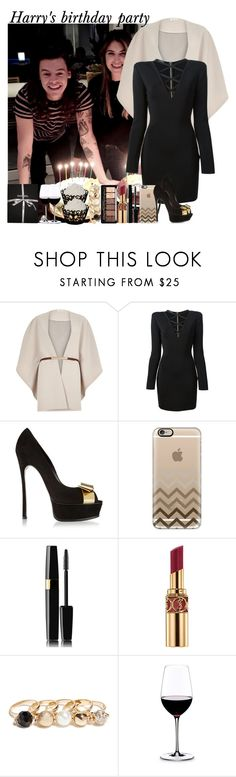 """Harry's birthday party"" by fashion-onedirection ❤ liked on Polyvore featuring River Island, Balmain, Casadei, Casetify, Yves Saint Laurent, GUESS, Riedel, Chanel, women's clothing and women"