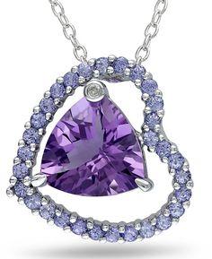 JCPenney FINE JEWELRY Amethyst, Tanzanite & Diamond Accent Heart Pendant Necklace