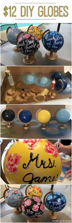 DIY painted mini-globes perfect for end of the year teacher gift