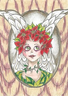 Whimsical Christmas Poinsettia Angel Wings Floral Halo - ACEO Print 1 of 10 #Miniature