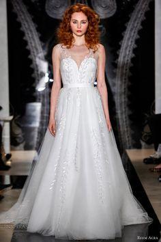 reem acra bridal spring 2014 roshlyn deep v neck tulle wedding dress