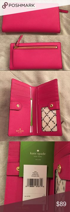 """NWT authentic Kate Spade Newbury Lane wallet NWT authentic Kate Spade Newbury Lane Stacy  wallet   - Made of  saffiano leather with gold tone hardware - Full length leather pull coin pocket back - Interior :  2 full length bill compartments                    2 slip open pockets                    12 credit card slots                    1 clear ID window - Saffiano Leather with KS name stamped inside - Snap closure inside - Size: 6.75"""" L x 3.5"""" H x .25"""" D - K S style # : WLRU1601 - Color per…"""