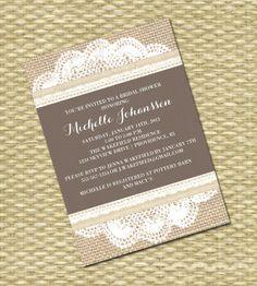 Rustic Country Bridal/Baby Shower, Wedding Invitation - Burlap Lace Kraft Doily. $15.00, via Etsy.