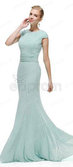 Duck egg blue bridesmaid dresses, Modest bridesmaid dresses cap sleeves, Mermaid chiffon formal dresses, evening dresses with crystals
