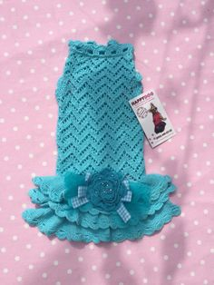 Turquoise open knit dog dress with a flower accent por AnnaHappydog