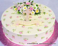 Beautiful Baptism cake for a little girl. #desserts #cakes #flowers #Baptism #spring #SweetSisters