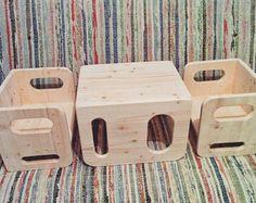 Montessori el sistema de la silla cubo - 1 grande, 2 pequeñas