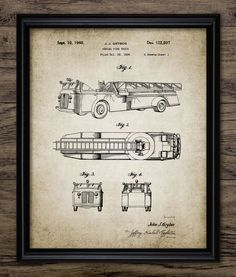 Vintage Fire Truck Patent Print - 1940 Fire Truck Illustration - Firefighting Equipment Design - Single Print #657 - INSTANT DOWNLOAD by InstantGraphics on Etsy https://www.etsy.com/listing/269927670/vintage-fire-truck-patent-print-1940