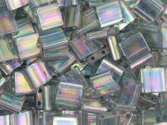 Miyuki 5mm Grey Rainbow Luster Tila Square Tube Bead 8g Bag