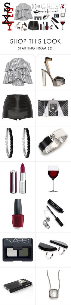 """""""And we're out! Girls' night out in shorts and heels."""" by riquee ❤ liked on Polyvore featuring Caroline Constas, Giuseppe Zanotti, Dolce&Gabbana, Paula Cademartori, Reeds Jewelers, Alexander McQueen, Givenchy, OPI, Bobbi Brown Cosmetics and NARS Cosmetics"""