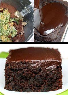 The moistest, fudgiest triple chocolate, Greek yogurt, zucchini cake you will ever have! The chocolate ganache seeps into the cracks, making it even fudgier.