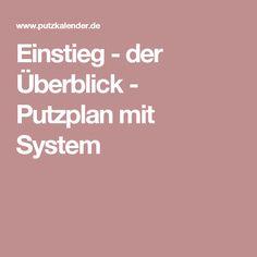 Einstieg - der Überblick - Putzplan mit System