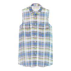 Equipment Shadowplay Plaid Printed Chiffon Sleeveless Signature Blouse ($188) ❤ liked on Polyvore featuring tops, blouses, chiffon button down blouse, sleeveless button up blouse, blue chiffon blouse, blue sheer blouse and button up blouse