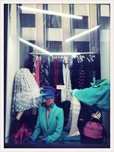 #lafemmemimi #fashion #designer #womensfashion #prague #window #clothes #skirt #dots #jacket #bag #shoes #lights
