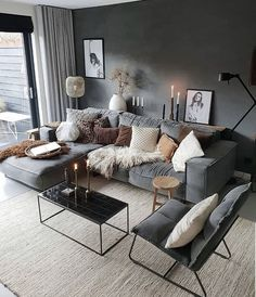 Stylish and cozy interior located in Netherlands.Photo courtesy … credit Stylish and cozy interior located in Netherlands. Living Room Interior, Interior Design Living Room, Living Room Designs, Living Room Furniture, Scandinavian Interior Living Room, Wooden Furniture, Scandinavian Style, Furniture Ideas, Monochrome Interior