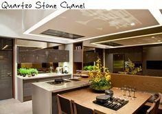 cozinha mesa bancada ilha quartzo stone chanel