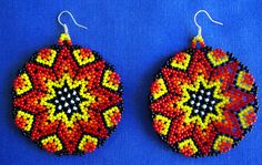 Mexican Huichol Beaded earrings by Aramara on Etsy,