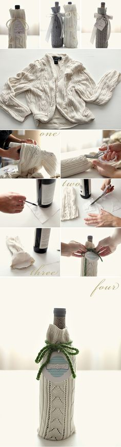 Dress up your bottle of wine with this cozy DIY wine wrap made from an old sweater. Find the instructions here on Grey Likes Weddings. Wine Bottle Gift, Wine Bottle Crafts, Wine Gifts, Wine Bottles, Diy Bottle, Bottle Bag, Wine Presents, Bottle Carrier, Recycled Sweaters