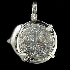 Atocha Jewelry - 4 Reale Silver Dolphin Coin Pendant