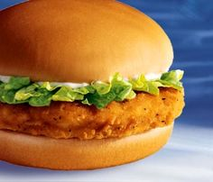 McChicken  Ingredients:  vegetable oil (in fryer)  1 egg  1 cup water  2/3 cup all-purpose flour  1/3 cup tempura mix  (or 1/3 cup flour for a total of 1 cup if tempura mix is unavailable)  2 teaspoons salt  1 teaspoon onion powder  1/2 teaspoon Accent® (MSG)  1/4 teaspoon pepper  1/8 teaspoon garlic powder  4 chicken breast filets  4 sesame seed hamburger buns  1 cup chopped iceberg lettuce  McDonald's McChicken® sauce