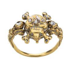 Skull Memento Mori Locket Ring Date: 17th century Culture: British Medium: Gold, enamel, diamonds, and ruby