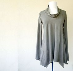 Weekend tunic top - lose fit long sleeve cowl neckline sweater shirt for women custom made organic womens clothing on Etsy, $100.59 CAD
