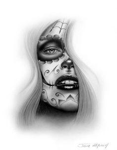"""Tradicionalmente, los tatuajes (tattoo) de calaveras mexicanas han simbolizado la muerte con una """"M"""" mayúscula, ¡pero no de una manera siniestra o negativa! Si hay un hecho innegable en este planeta, es que ningún ser humano escapa de la Parca, por rico o famoso que sea.! Skull Girl Tattoo, Girl Skull, Sugar Skull Girl, Sugar Skull Tattoos, Sugar Tattoo, Sugar Skulls, Body Art Tattoos, Tattoo Drawings, New Tattoos"""