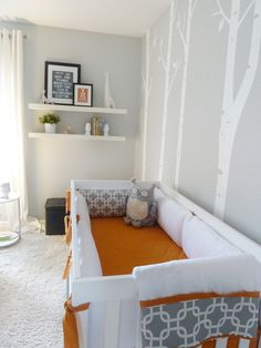 Grey and Tangerine Modern {Woodland Inspired} Nursery | Project Nursery (I prefer pink or blue as accent)