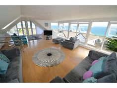 Stunning sea views, close to the centre of St Ives & car parking for upto 3 cars - Saint Ives Dog Friendly Holiday Cottages, Luxury Accommodation, St Ives, Detached House, Car Parking, Bean Bag Chair, Ceiling Lights, Patio, Sea