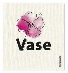 """Schwammtuch """"Vase"""" (schwarz / pink). Das bedruckte Schwammtuch ist ein Naturprodukt und einfach in der Waschmaschine zu reinigen. Es verfärbt nicht, hat eine lange Lebensdauer und ist kompostierbar. Produziert in Deutschland. 20 cm x 22 cm. 70% Viskose, 30% Baumwolle. - Erhältlich bei: http://shop.hokohoko.com"""