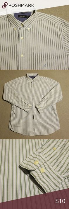 Nautica Button Shirt L This green, blue, and white striped shirt is in good used condition. Sized large. Offers Accepted.   Seller is: -Posh Ambassador -Fast Shipper -Top-Rated Seller  *I offer great bundles on discounts. Nautica Shirts Casual Button Down Shirts