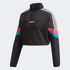 Past meets future. Inspired by an adidas track suit from the archives, this crop top modernises the look with bold coloured overlays on the sleeves. Reflective details add some flash to this cosy, French terry pullover. Streetwear, Fitness Style, Fashion Design Sketches, Vogue Fashion, Black Crop Tops, Ideias Fashion, Sportswear, Retro, Teen Fashion