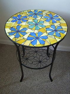 19 round flowers mosaic side table.FREE SHIPPING by NYMosaicArt, $269.00