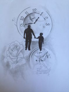 Sketch love father and son tattoo tattoos! Daddy Tattoos, Father Tattoos, Time Tattoos, Body Art Tattoos, Clock Tattoos, Tatoos, Father Daughter Tattoos, Tattoos For Daughters, Father And Son