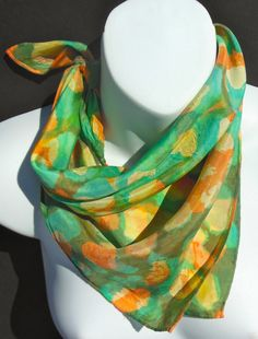 Cayman Isle Green/Orange/SILK SCARF Hand by SilkScarvesJoanReese, $50.00