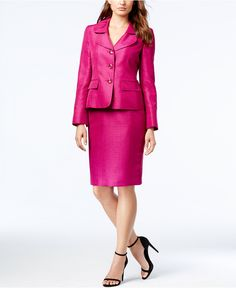 Le Suit Three-Button Shantung Skirt Suit - All Suits & Suit Separates - Women - Macy's Suits For Women, Clothes For Women, Skirt Suit Set, Mother Of Groom Dresses, Pink Suit, Plus Size Skirts, Over 50 Womens Fashion, Dress For Success, Skirt Fashion