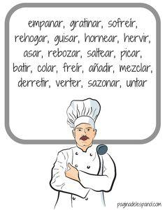 Una actividad para aprender 20 verbos en español que se utilizan para cocinar.